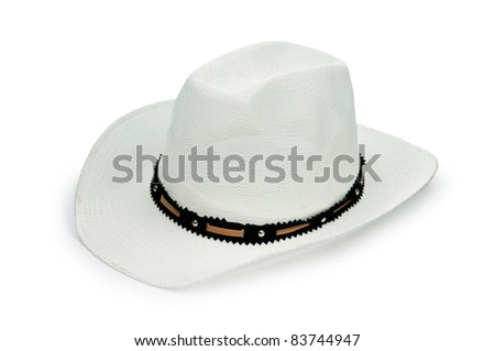 White lined hat isolated - stock photo