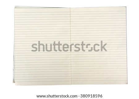 white lined sheet of notepad paper on white background - stock photo