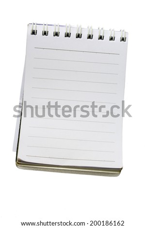 White Lined Spiral Note Pad with Copy Space Isolated on a White Background.  - stock photo