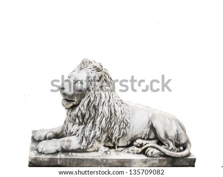 White lion rock figure on white background