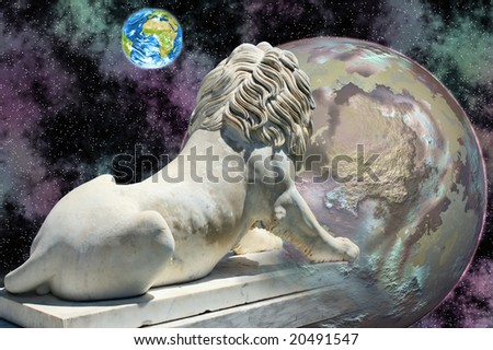 white lion statue looking at blue earth in open cosmos - stock photo