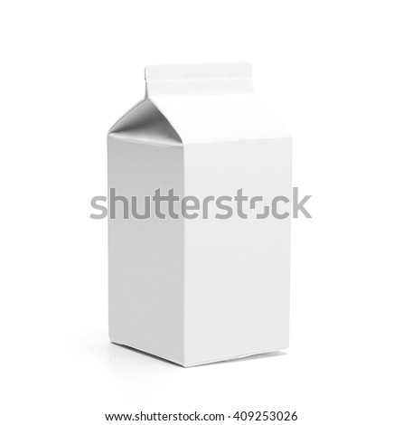 White 0.5 litre milk box with gable without lid with original shadow. Isolated on white without clipping path.