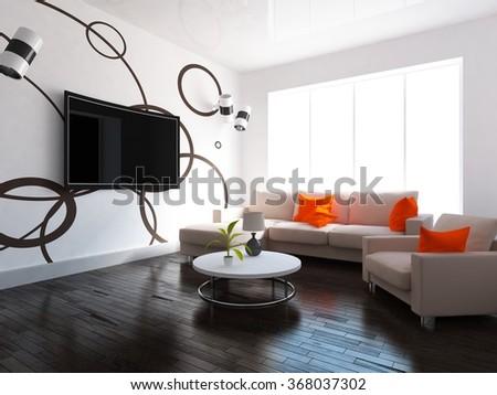 white living room. 3d interior.3d illustration - stock photo