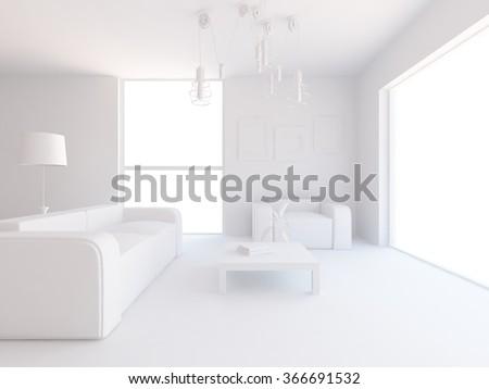 white living room interior. 3d concept - stock photo