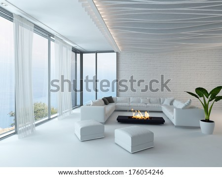 White living room interior with fireplace - stock photo