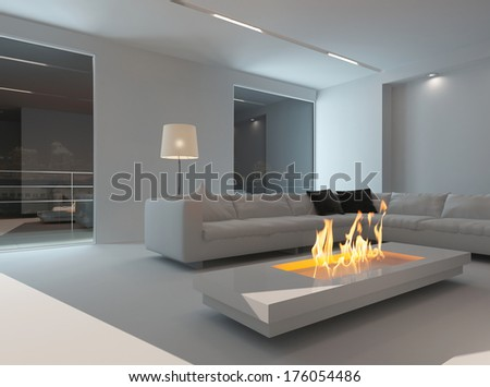 White living room interior with fireplace at night - stock photo