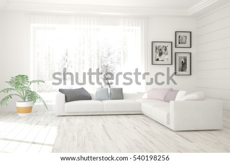 White Living Room Interior With Sofa And Winter Landscape In Window.  Scandinavian Home Design.