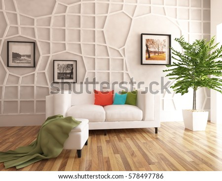 White Living Room Interior With Sofa Scandinavian Design 3D Illustration