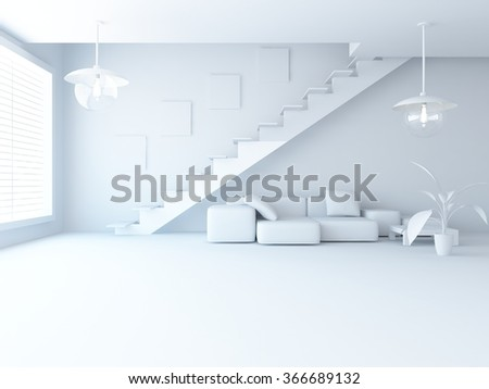 white living room interior with stairs. 3d illustration - stock photo