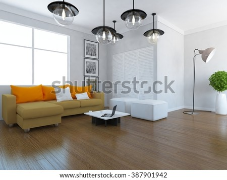 white living room with sofa. 3d concept - stock photo