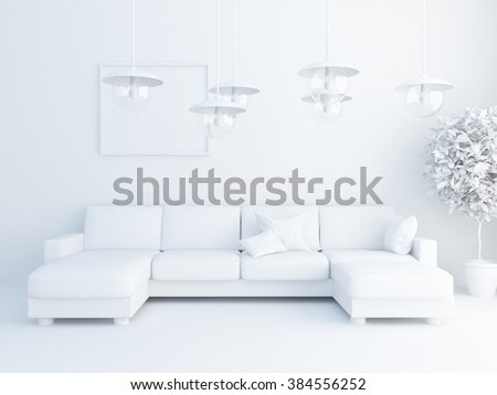 white living room with sofa. White interior.3d illustration