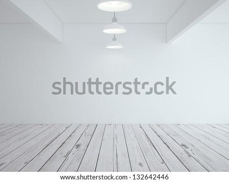 white loft room and wood floor - stock photo