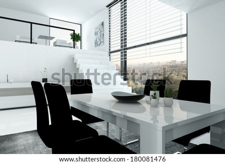 White loft with stair and dining table - stock photo