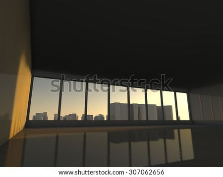 white loft with window to  skyscrapers 3D rendering