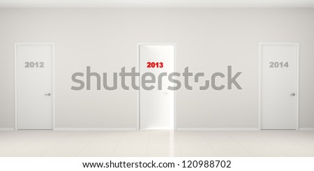 White long corridor with doors 2012, 2014 and the slightly opened door 2013. New Year's illustration. - stock photo