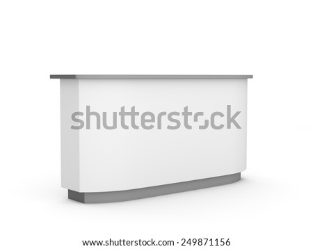 white long desk or counter from a bit perspective view. render - stock photo