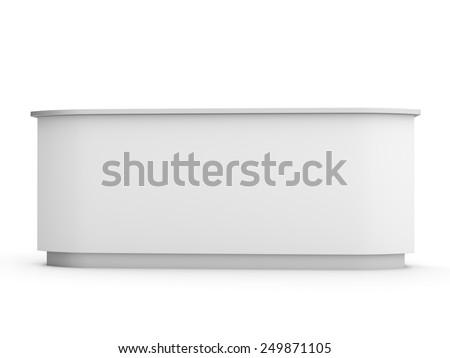 White Long Desk Counter Front View Stock Illustration