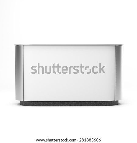 white long desk or counter. render