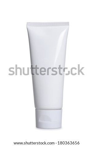 white lotion container on white background - stock photo