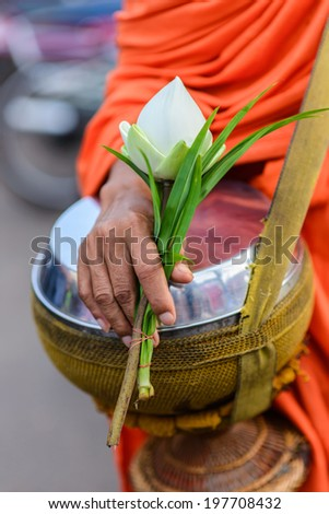 white lotus in monk hand on the bowl carried by a Buddhist priest - stock photo