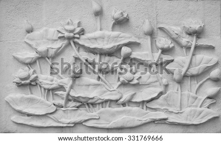White Lotus Stucco cement background, Thailand - stock photo