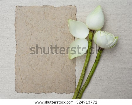 White lotus with natural paper on canvas background - stock photo