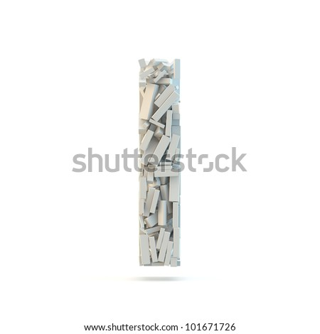 White lowercase letter l isolated on white. Part of high resolution graphical alphabet set. - stock photo
