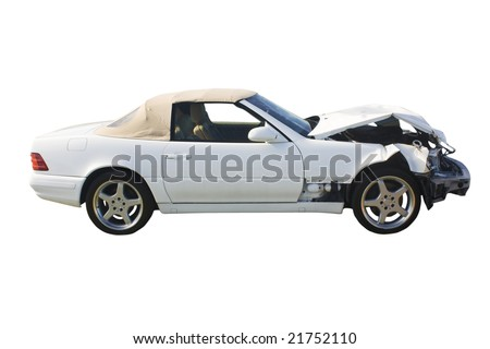 white luxury convertible with front end damage isolated on white