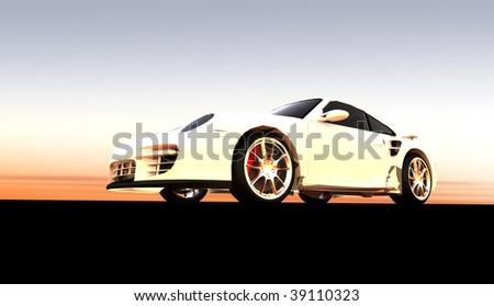 White luxury dream sports car / sportscar at sunset / sunrise - stock photo