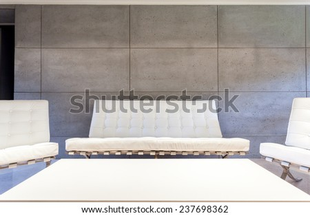 White luxury furniture in modern living room - stock photo