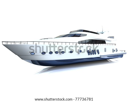 White luxury yacht isolated on a white background - stock photo