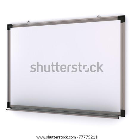 White magnetic board on the wall. Isolated 3d rendering - stock photo