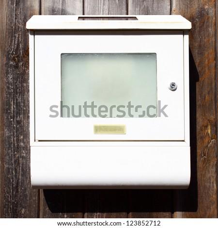 White mail box close-up - stock photo
