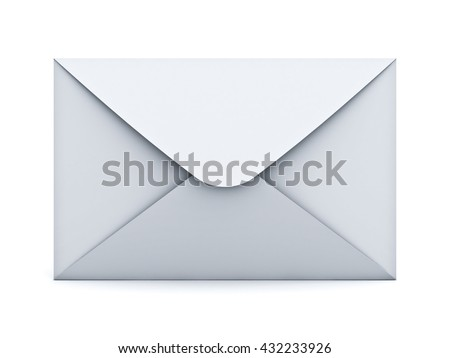 White mail envelope isolated over white background with shadow. 3D rendering. - stock photo