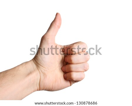 White male hand showing a thumbs up sign isolated on white background