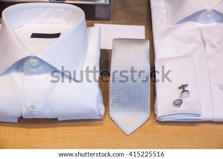 White male shirts with cuff link and necktie - stock photo