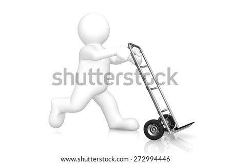 White man and hand truck with clipping path. Cargo, delivery and transportation logistics storage.
