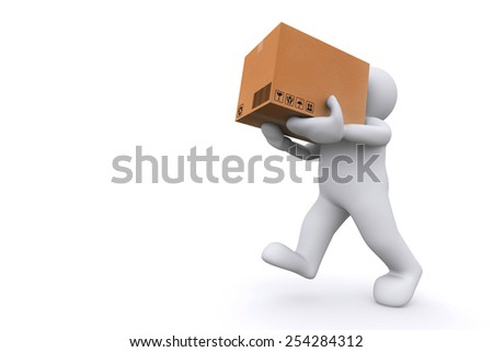 White man holding cardboard box. Cargo, delivery and transportation logistics storage. - stock photo