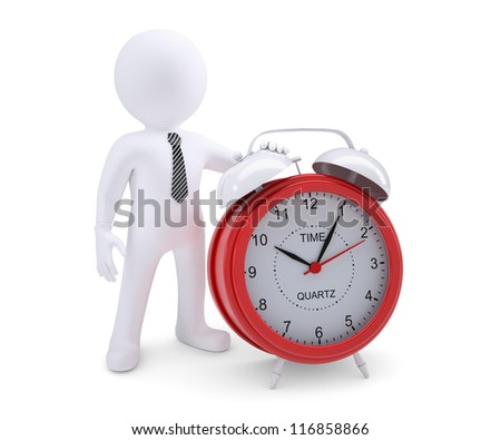 White man next to the red alarm clock. Isolated render on a white background