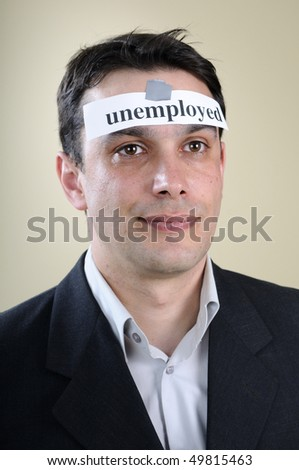 white man showing unemployed message - stock photo