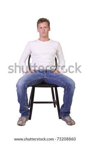 white man sitting on chair relaxed-white background