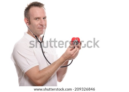 White man with stethoscope checking heart, health care concept, isolated on white