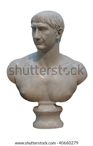 White marble bust of the roman emperor Trajan isolated on white - stock photo