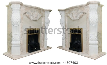 white marble fireplace - stock photo