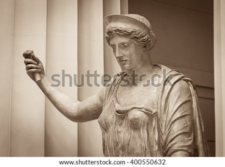 White marble head of young woman - stock photo