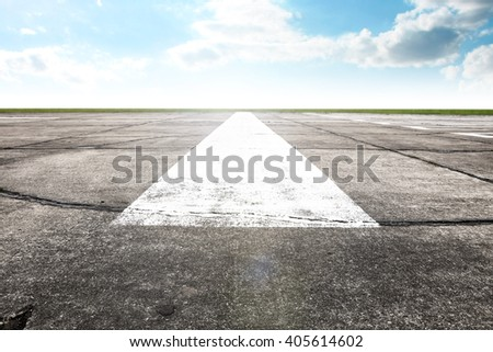 white mark on gray runway  - stock photo