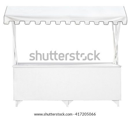 White market stall with awning - stock photo