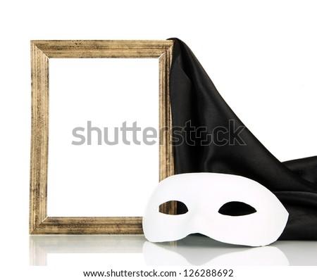 White mask, empty frame and black silk fabric, isolated on white - stock photo