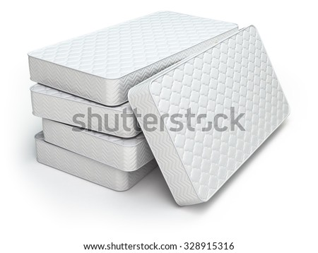 White mattress isolated on white background. 3d - stock photo