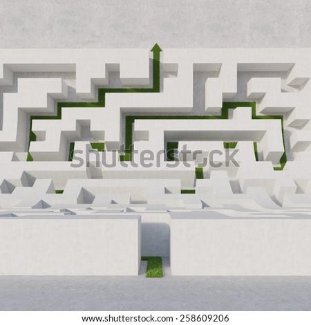 white maze bend with black arrow - stock photo